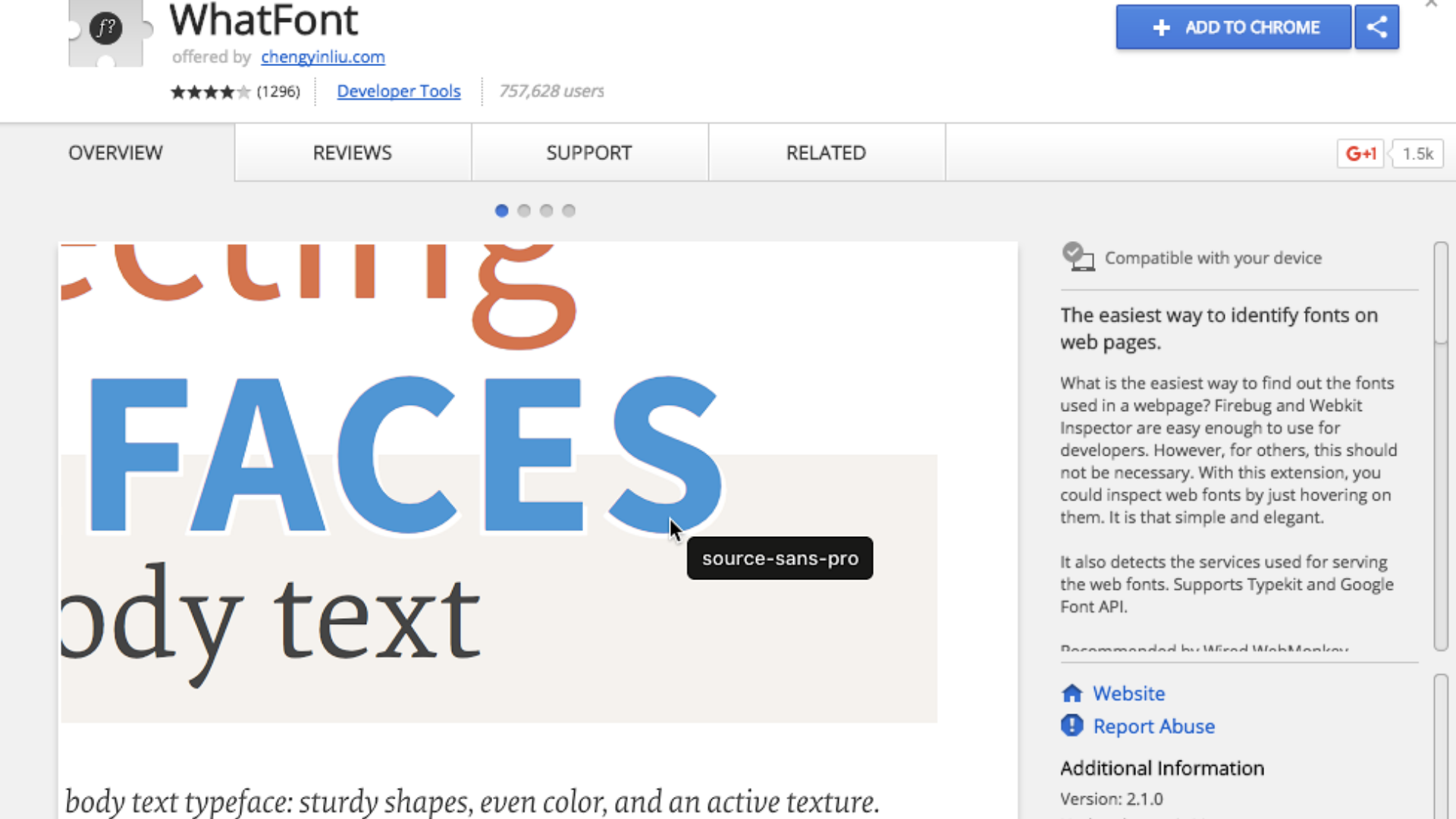 Whatfont extension