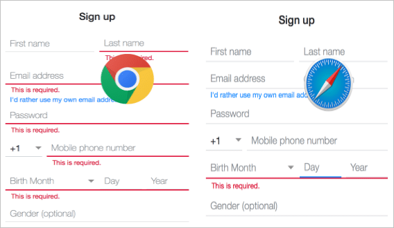 A comparison between interfaces of chrome and safari